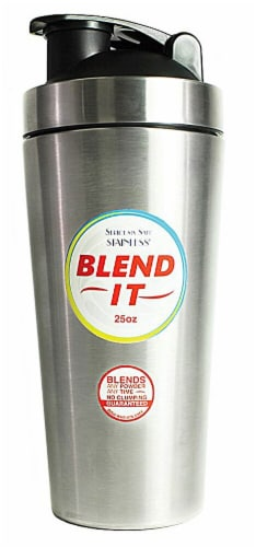 New Wave Enviro  Stainless Steel 25 oz Shaker Bottle w/Blender Cap Perspective: front