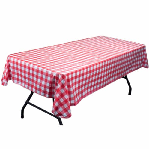 Red and White Vinyl Table Cloth with Flannel Backing Perspective: front