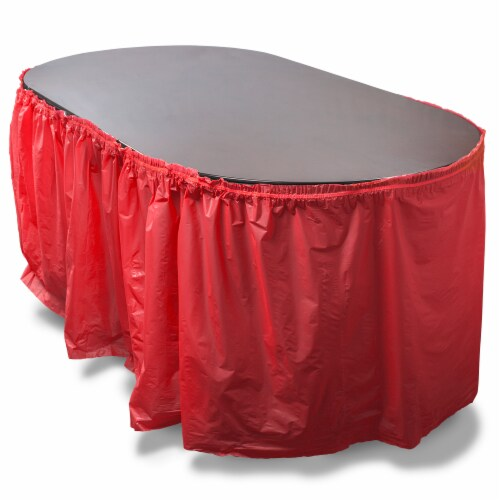 14-foot Red Reusable Plastic Table Skirt, Extends up to 20ft Perspective: front