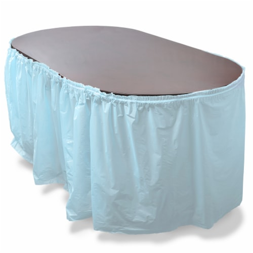 14' Light Blue Reusable Plastic Table Skirt, Extends 20'+ Perspective: front