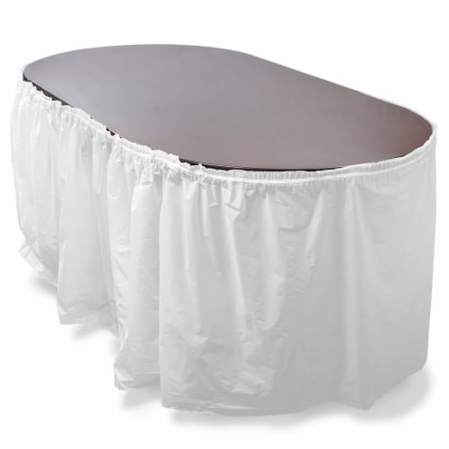 14' White Reusable Plastic Table Skirt, Extends 20'+ Perspective: front