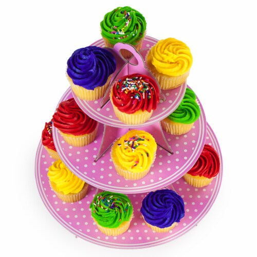 Pink Polka Dot 3 Tier Cupcake Stand, 14in Tall by 12in Perspective: front
