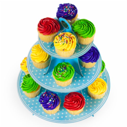 Blue Polka Dot 3 Tier Cupcake Stand, 14in Tall by 12in Wide Perspective: front