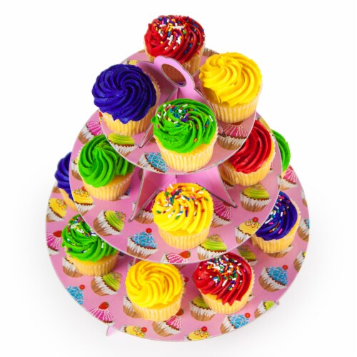 Pink 3 Tier Cupcake Stand, 14in Tall by 12in Wide Perspective: front