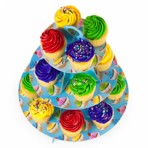 Blue 3 Tier Cupcake Stand, 14in Tall by 12in Wide Perspective: front