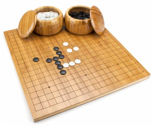 Bamboo Go Set with Reversible Board, Bowls, Stones Perspective: front