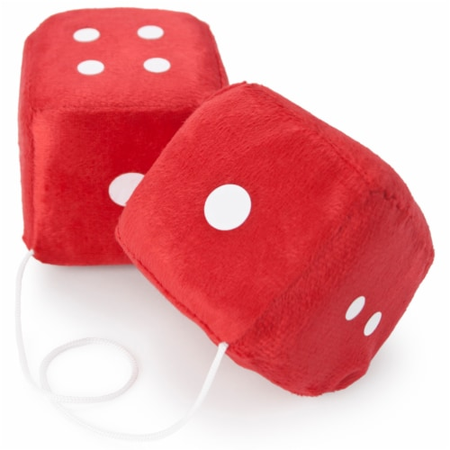 Pair of Red 3in Hanging Fuzzy Dice Perspective: front