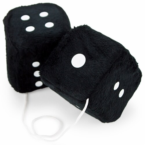 Pair of Black 3in Hanging Fuzzy Dice Perspective: front