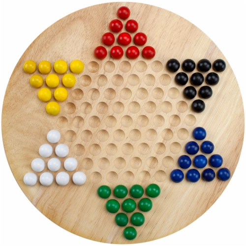 All Natural Wood Chinese Checkers with Wooden Marbles Perspective: front