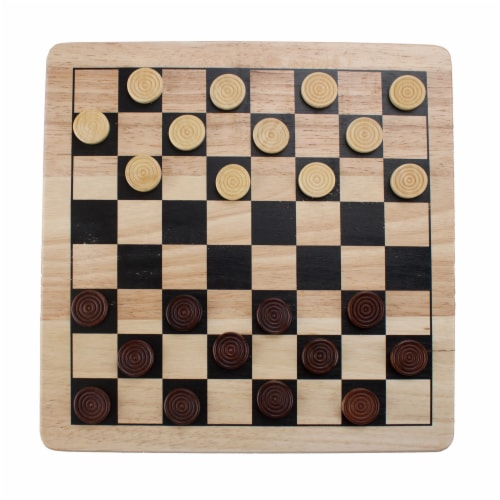 All Natural Wood 2-in-1 Checkers and Tic-Tac-Toe Set Perspective: front