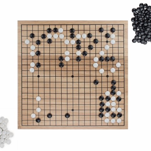 Game of Go Set with Wooden Board and Complete Set of Stones Perspective: front