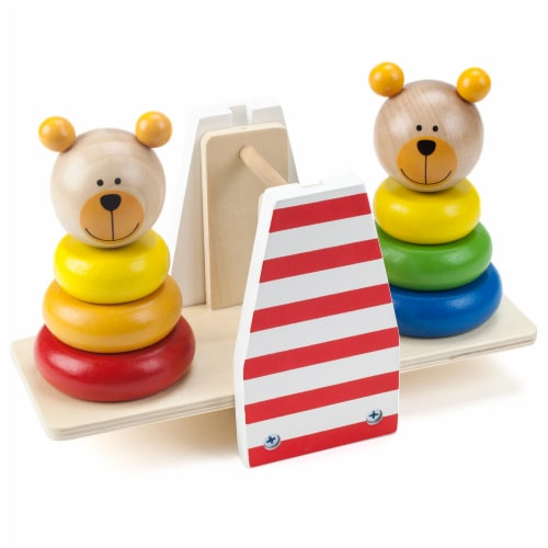 Balancing Bears Stacking See-Saw Perspective: front