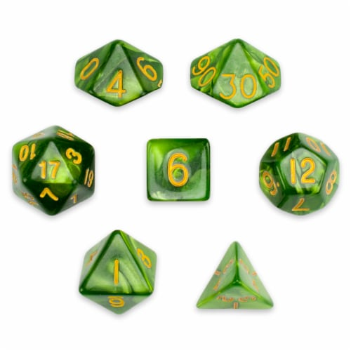 7 Die Polyhedral Set in Velvet Pouch, Jade Oil Perspective: front