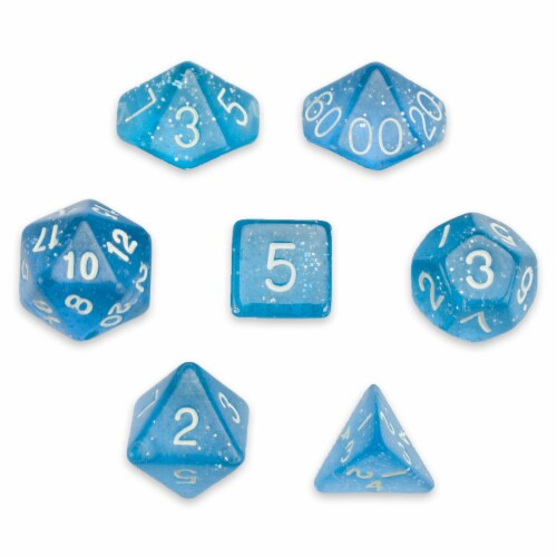 7 Die Polyhedral Set in Velvet Pouch, Diamond Dust Perspective: front