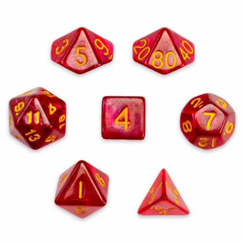 7 Die Polyhedral Set in Velvet Pouch, Philosopher's Stone Perspective: front