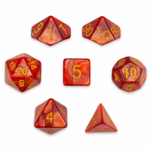 7 Die Polyhedral Set in Velvet Pouch, Dragon Scales Perspective: front