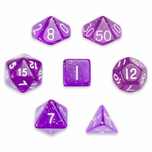7 Die Polyhedral Set in Velvet Pouch, Arcane Aura Perspective: front