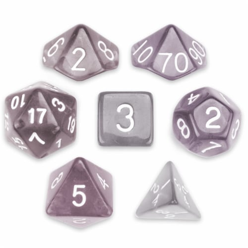 7 Die Polyhedral Set in Velvet Pouch, Drowskin Perspective: front