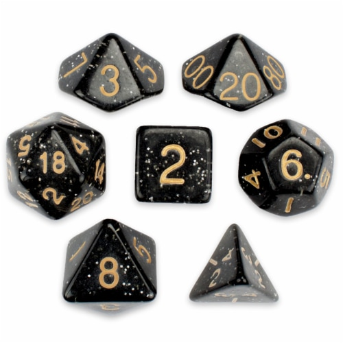 7 Die Polyhedral Set in Velvet Pouch, Stardust Perspective: front