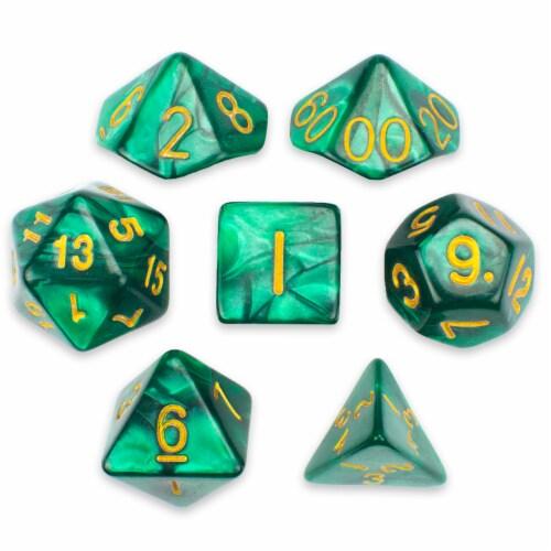 7 Die Polyhedral Set in Velvet Pouch, Basilisk Blood Perspective: front