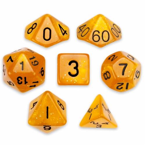 7 Die Polyhedral Set in Velvet Pouch, Dwarven Brandy Perspective: front