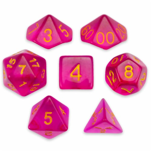 7 Die Polyhedral Set in Velvet Pouch, Faerie Fire Perspective: front