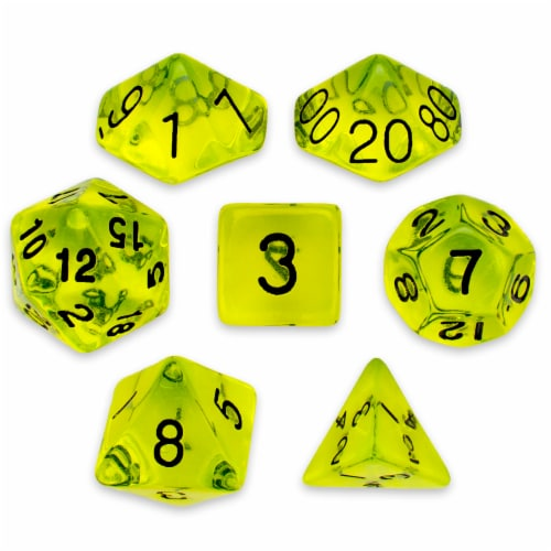 7 Die Polyhedral Set in Velvet Pouch, Boiled Bile Perspective: front