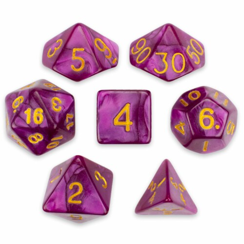 7 Die Polyhedral Set in Velvet Pouch, Abyssal Mist Perspective: front