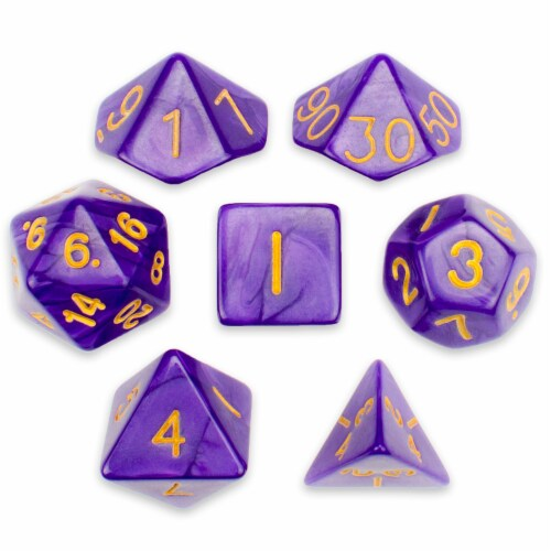 Set of 7 Polyhedral Dice, Lucid Dreams Perspective: front