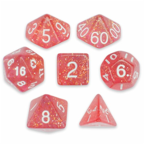 Sert of 7 Polyhedral Dice, Royal Bubblegum Perspective: front