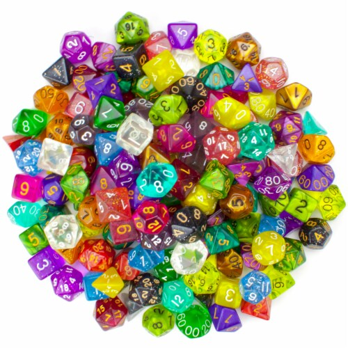 100+ Pack of Random Polyhedral Dice, Series II Perspective: front
