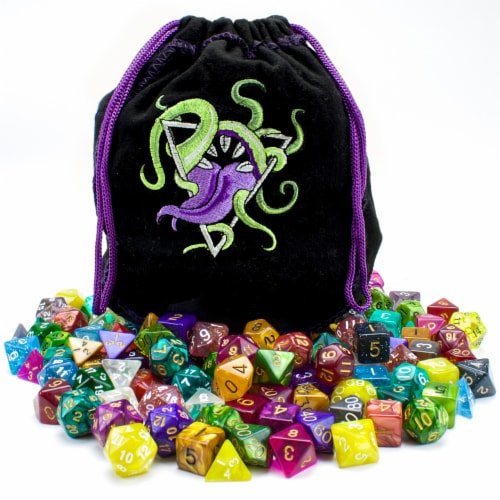 Bag of Devouring: 140 Polyhedral Dice in 20 Complete Sets Perspective: front