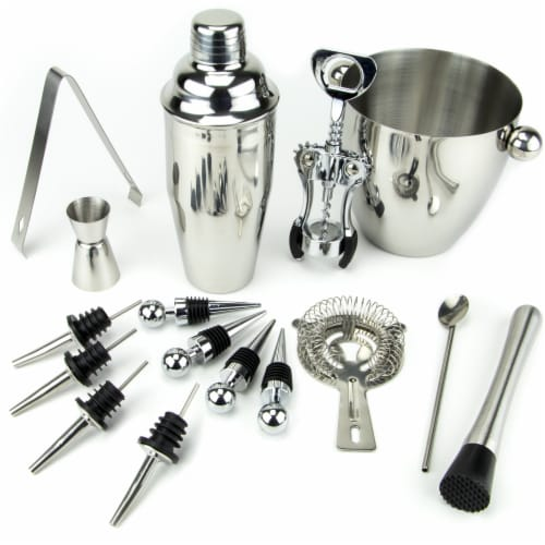 16 Piece-Stainless Steel Bar Set Perspective: front