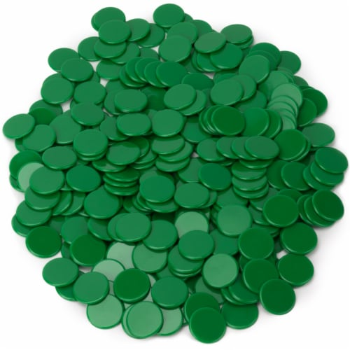 Solid Green Bingo Chips, 300-pack Perspective: front