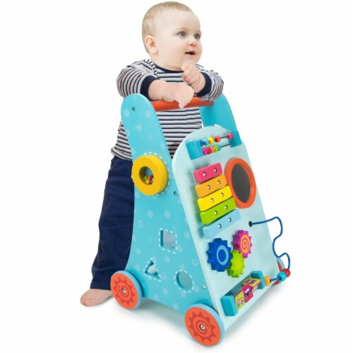 Blue Push N Play Walker Perspective: front