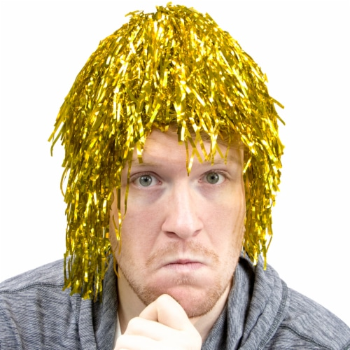 Tinsel Wigs 6-pack, Gold Perspective: front