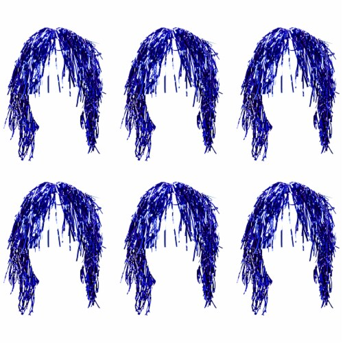 Tinsel Wigs 6-pack, Blue Perspective: front