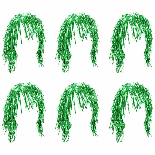 Tinsel Wigs 6-pack, Green Perspective: front