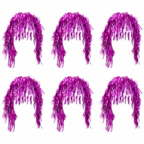 Tinsel Wigs 6-pack, Pink Perspective: front