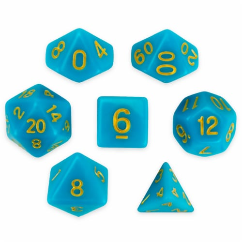 Set of 7 Polyhedral Dice, Skystone Perspective: front