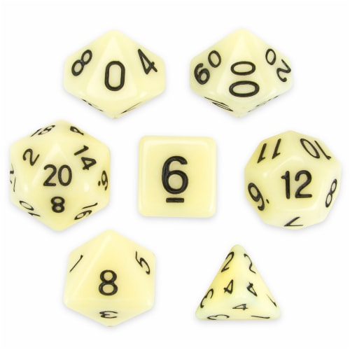 Set of 7 Polyhedral Dice, Goblin Teeth Perspective: front