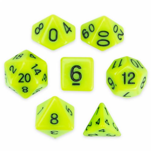 Set of 7 Polyhedral Dice, Sticky Ichor Perspective: front