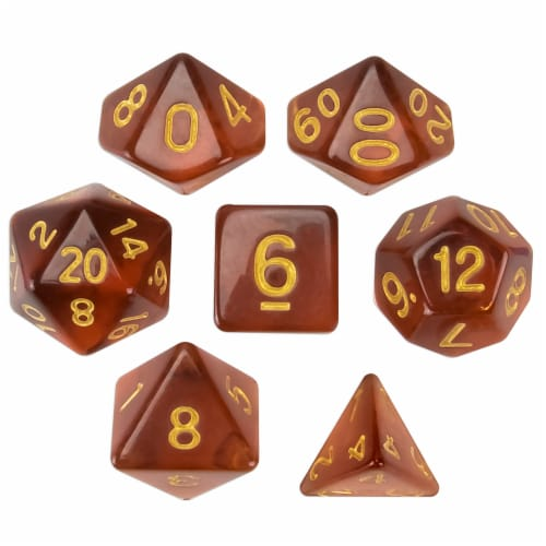 Set of 7 Polyhedral Dice, Desert Topaz Perspective: front
