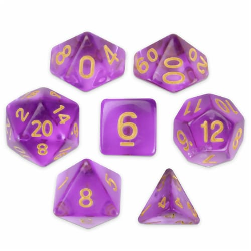Set of 7 Polyhedral Dice, Ambrosia Perspective: front