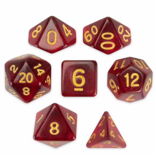Set of 7 Polyhedral Dice, Blood Lust Perspective: front
