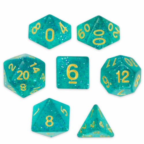 Set of 7 Polyhedral Dice, Celestial Sea Perspective: front