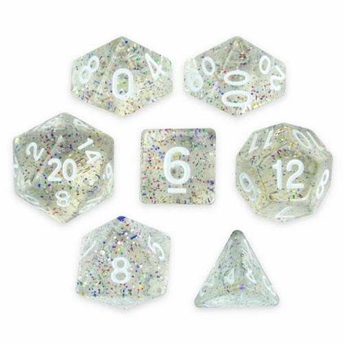 Set of 7 Polyhedral Dice, Sparkle Vomit Perspective: front