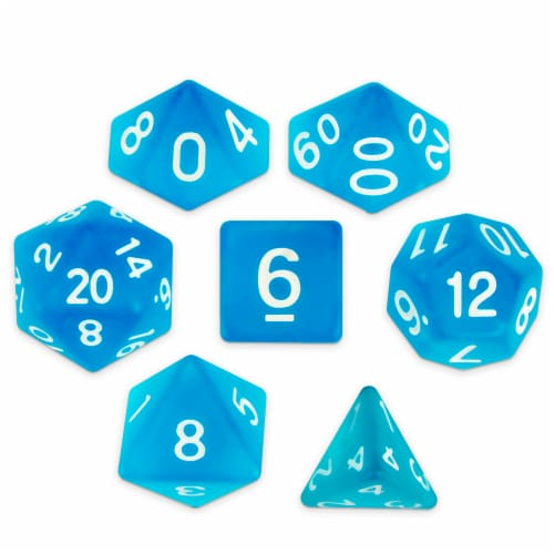 Set of 7 Polyhedral Dice, Sea Glass Perspective: front