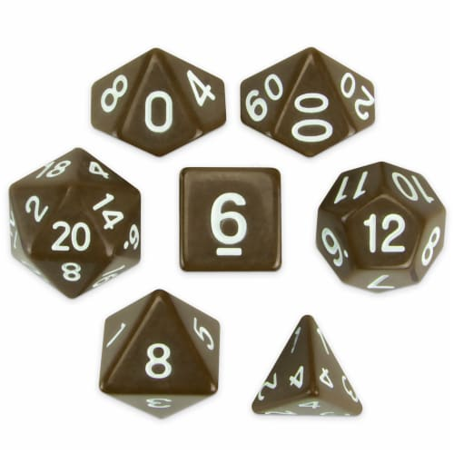Set of 7 Polyhedral Dice, Enchanted Clay Perspective: front