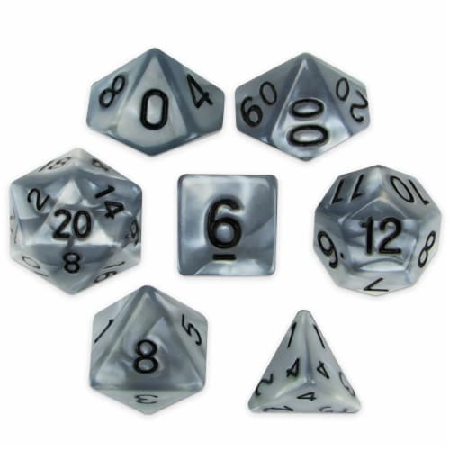 Set of 7 Polyhedral Dice, Quicksilver Perspective: front